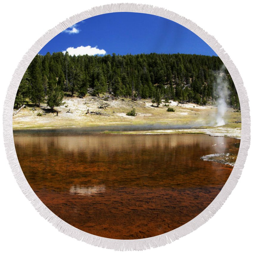 Firehole Lake Bubbles And Splashes Superheated Steam Rises Through Pool. Lower Geyser Basin Round Beach Towel featuring the photograph Steam At Firehole Lake by Paul Cannon