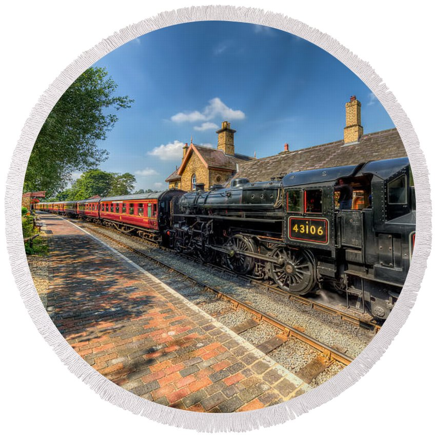 Arley Round Beach Towel featuring the photograph Steam Train by Adrian Evans