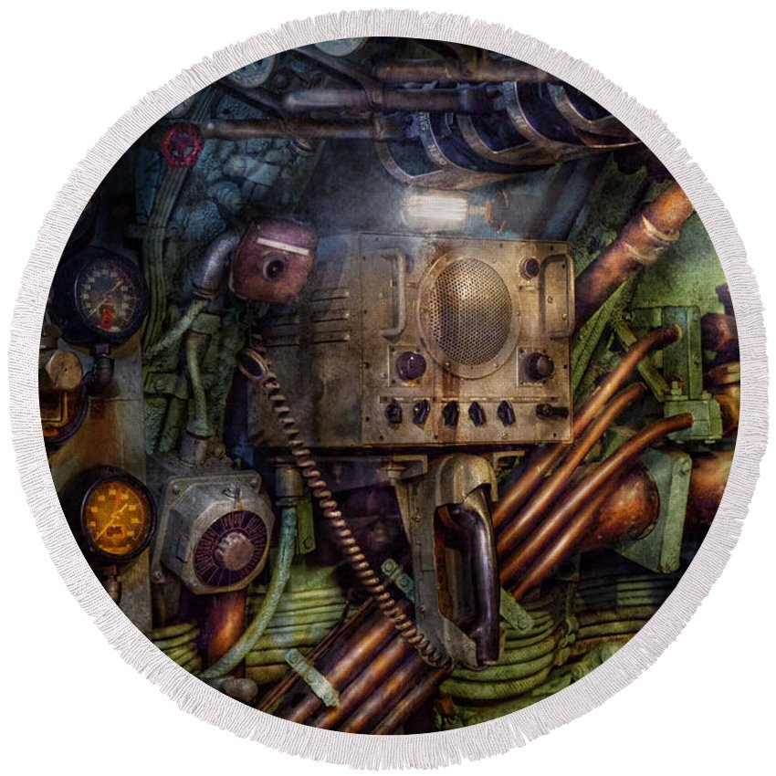 Steampunk Round Beach Towel featuring the photograph Steampunk - Naval - The Comm Station by Mike Savad