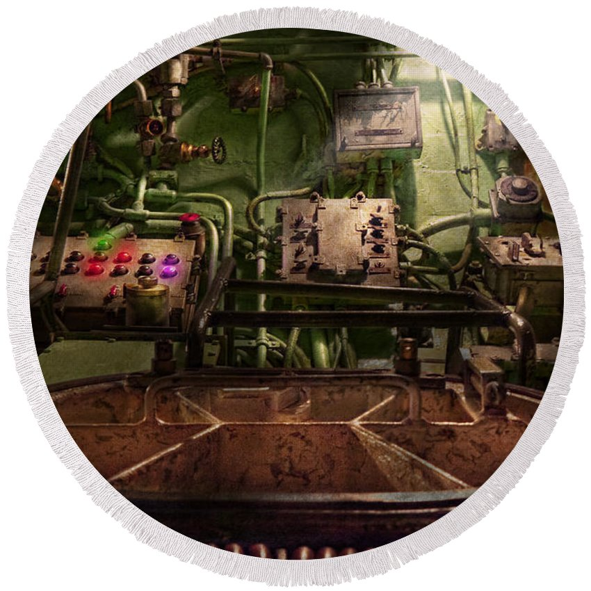 Steampunk Round Beach Towel featuring the photograph Steampunk - Naval - This Is Where I Do My Job by Mike Savad