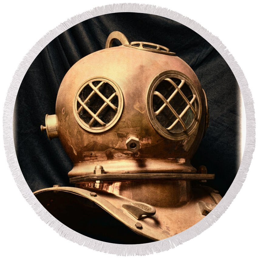 Paul Ward Round Beach Towel featuring the photograph Steampunk - Diving - Diving Helmet by Paul Ward