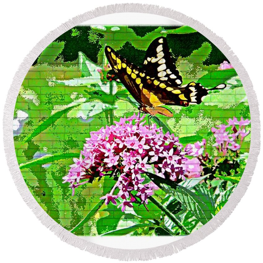Butterfly Flower Round Beach Towel featuring the photograph Stencilled Butterfly by Alice Gipson