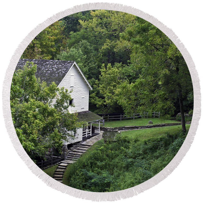 Kentucky Round Beach Towel featuring the photograph Steps To The Mill by Ken Frischkorn