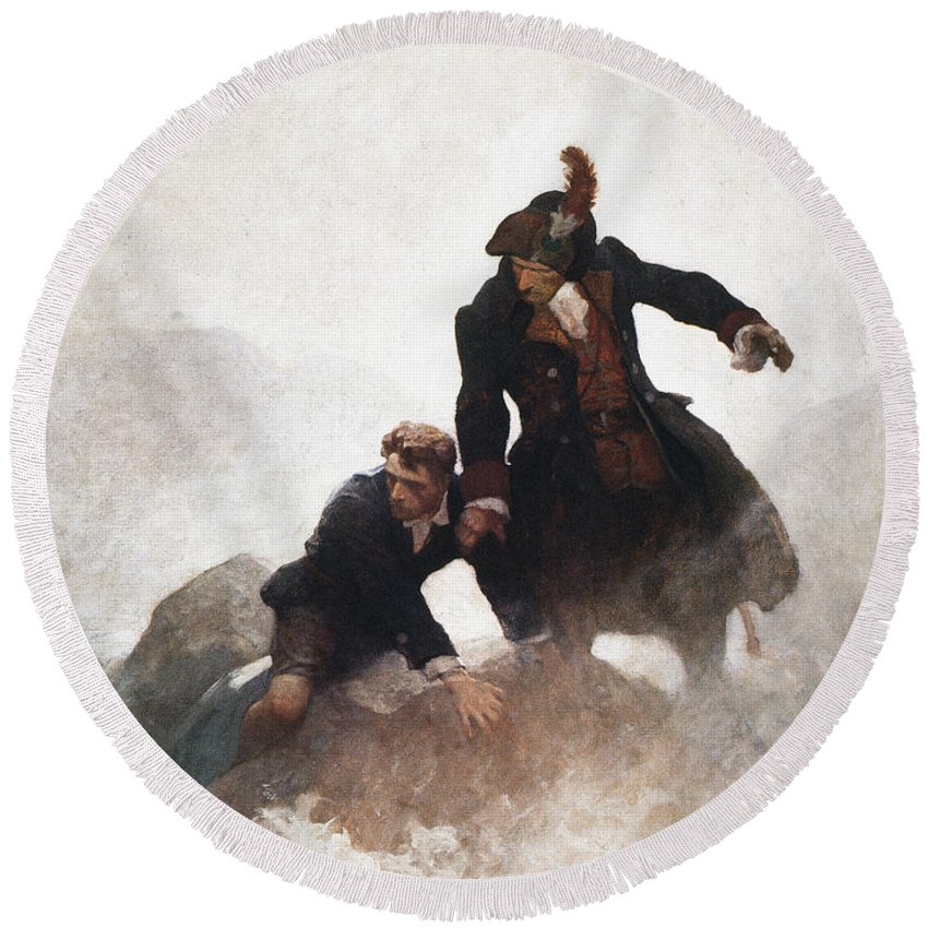 1913 Round Beach Towel featuring the painting Stevenson - Kidnapped 1913 by Granger