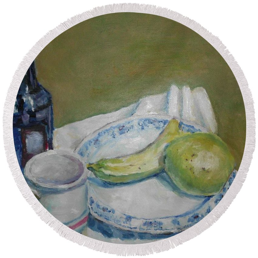 Still Life Bannana Pear Bottle Plate Round Beach Towel featuring the painting Still Life With Fruit by Charles McChesney