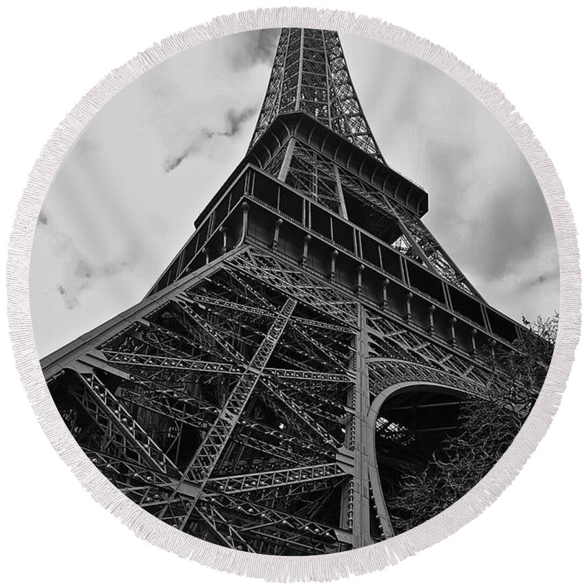 Eiffel Tower Round Beach Towel featuring the photograph Still Standing by Eric Tressler