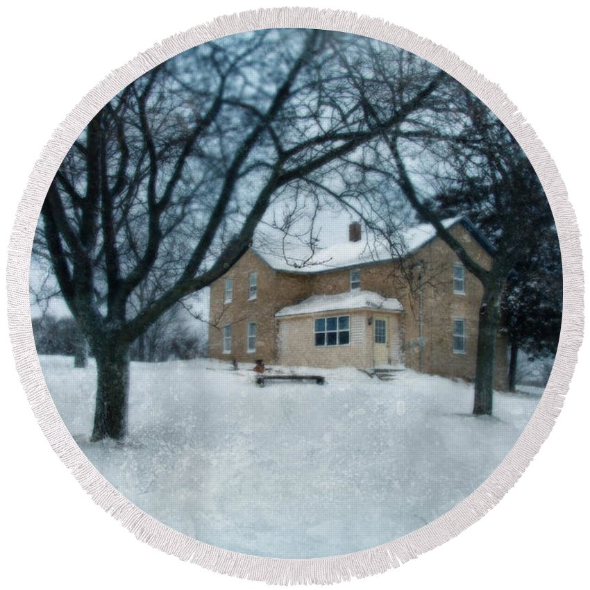 Rural Round Beach Towel featuring the photograph Stone Farmhouse In Winter by Jill Battaglia