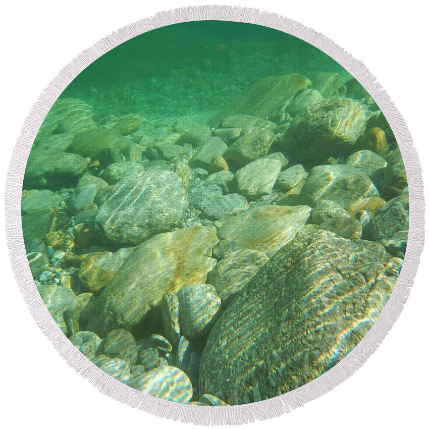 Stones Round Beach Towel featuring the photograph Stones Under The Water by Mats Silvan