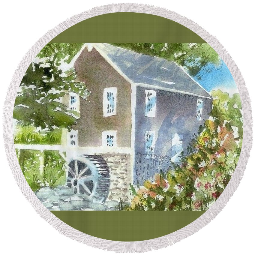 Stoney Brook Mill Round Beach Towel featuring the painting Stoney Brook Mill by Joseph Gallant