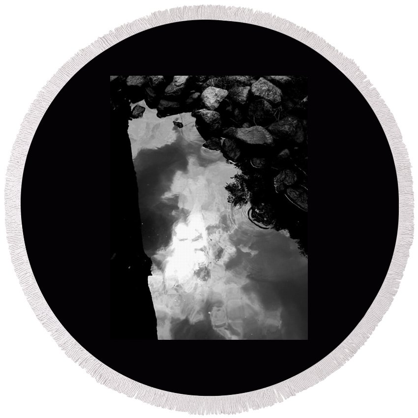 Black And White Round Beach Towel featuring the photograph Stoney Reflections by Michele Nelson
