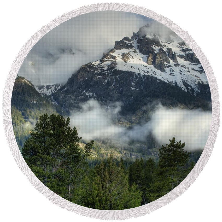 Hdr Round Beach Towel featuring the photograph Storm In The Tetons by Sandra Bronstein