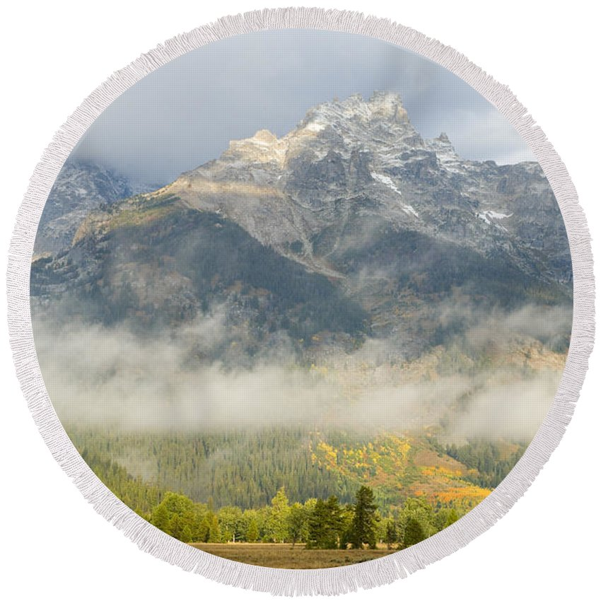 Landscape Round Beach Towel featuring the photograph Storm On Grand Teton by Sandra Bronstein