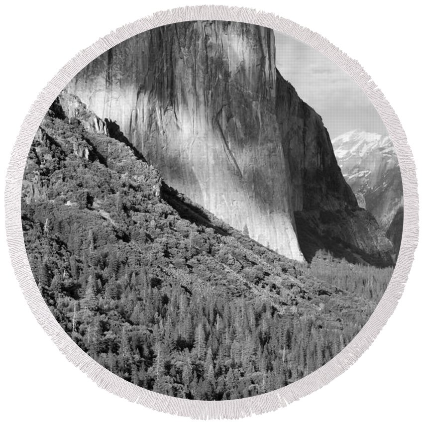 Black&white Round Beach Towel featuring the photograph Storm Over El Capitan by Sandra Bronstein