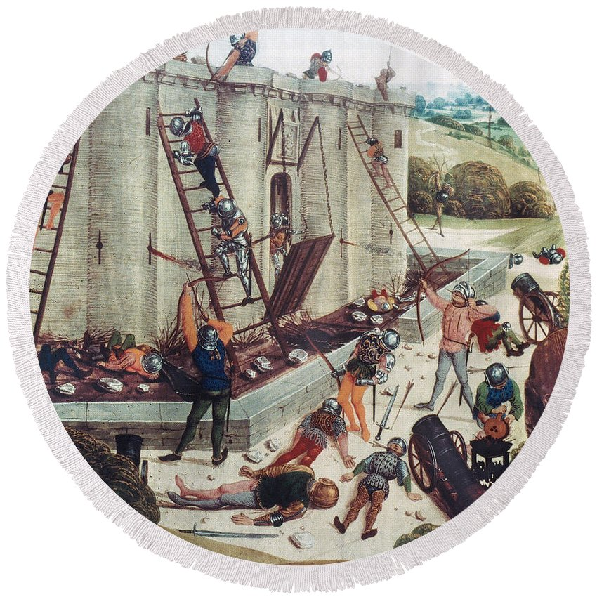 15th Century Round Beach Towel featuring the photograph Storming Of Castle by Granger