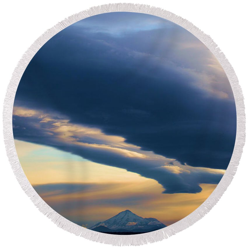 Mt Shasta Round Beach Towel featuring the photograph Storms Over Shasta by Adam Jewell
