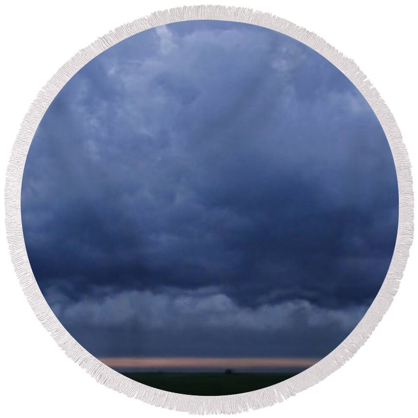 Round Beach Towel featuring the photograph Stormy Morning by Debbie Portwood
