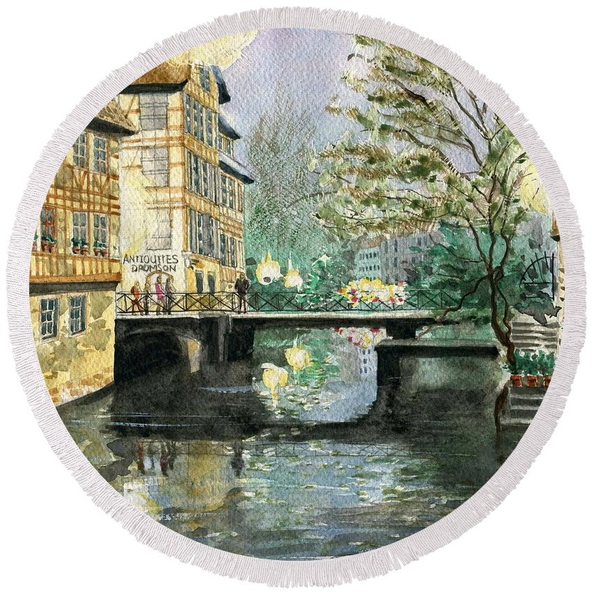 Building Round Beach Towel featuring the painting Strasbourg by Ken Yeh