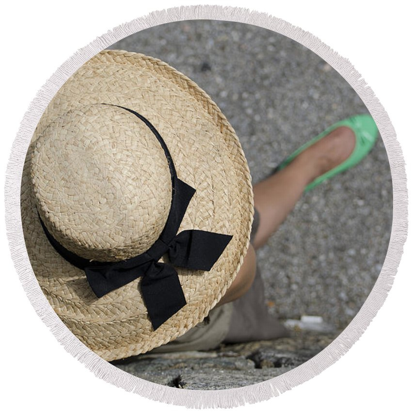 Woman Round Beach Towel featuring the photograph Straw Hat And Green Shoes by Mats Silvan