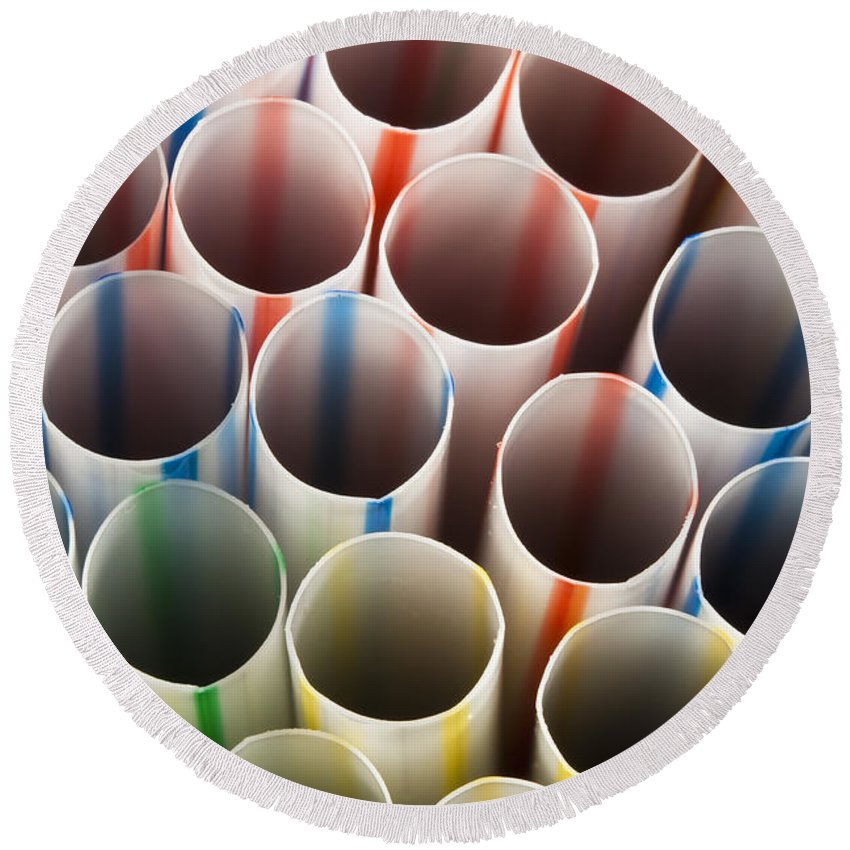 Photograph Round Beach Towel featuring the photograph Straws 2 by John Brueske