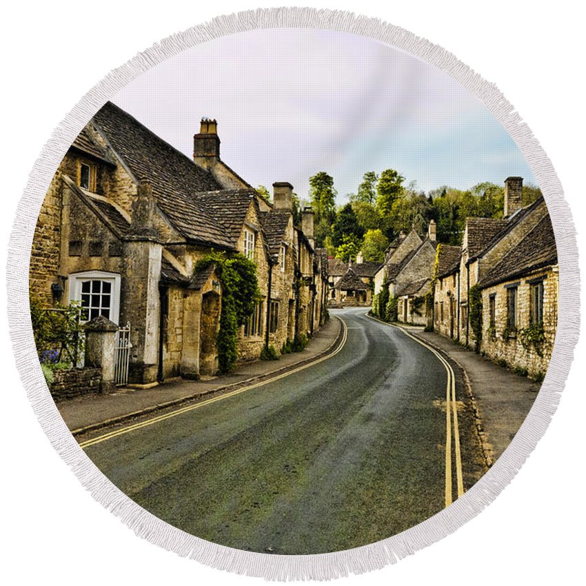 Castle Combe Round Beach Towel featuring the photograph Street In Castle Combe by Jon Berghoff