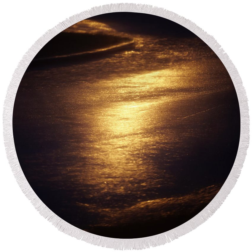 Absence Round Beach Towel featuring the photograph Gold Water On The Street by Skip Nall