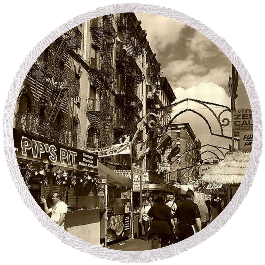 San Gennaro Round Beach Towel featuring the photograph Streets Of Little Italy by Catie Canetti