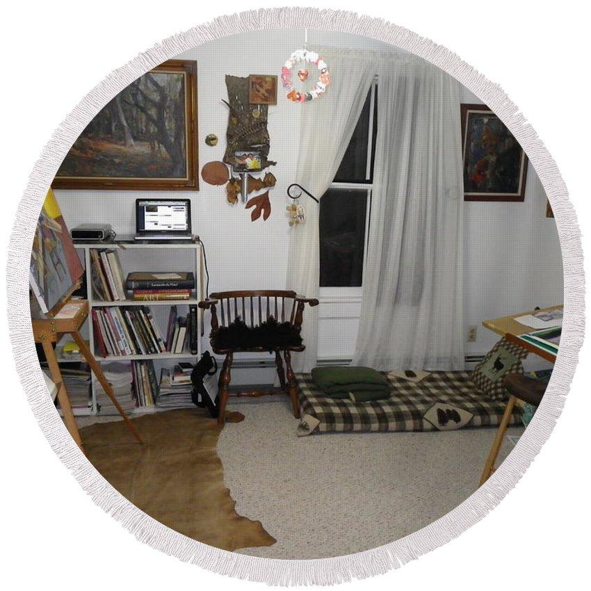 Studio Round Beach Towel featuring the photograph Studio - Art Work Space by Anna Ruzsan