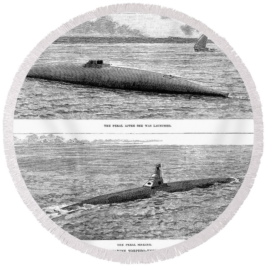 1890 Round Beach Towel featuring the photograph Submarine Launch, 1890 by Granger