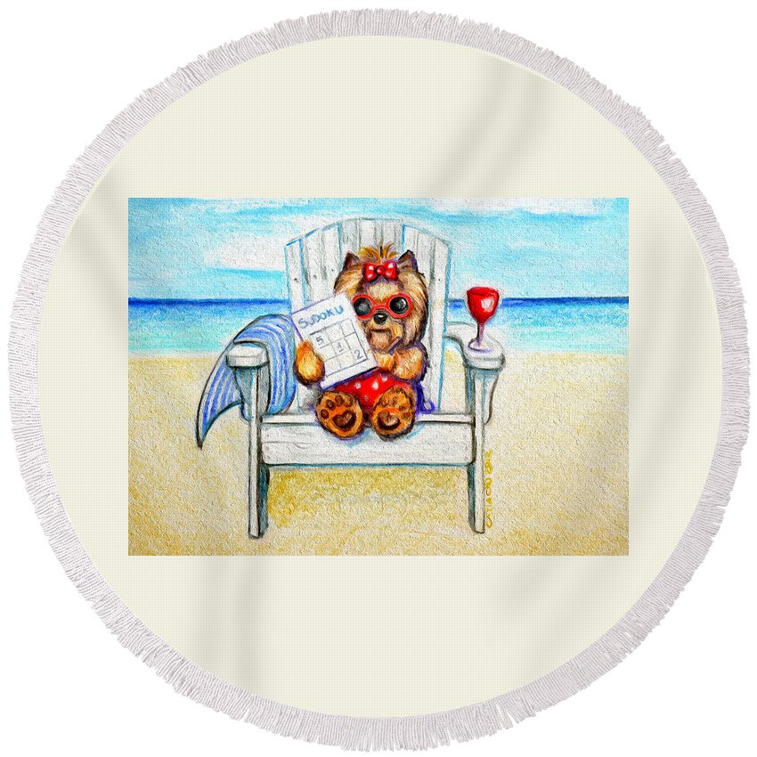 Yorkie Round Beach Towel featuring the mixed media Sudoku At The Beach by Catia Lee