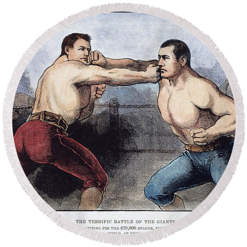 1889 Round Beach Towel featuring the photograph Sullivan & Kilrain Fight by Granger