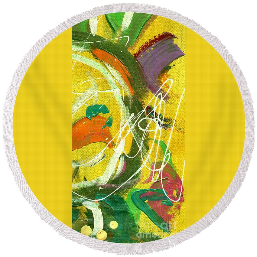 Green Round Beach Towel featuring the painting Summer Bliss IIi by Angela L Walker