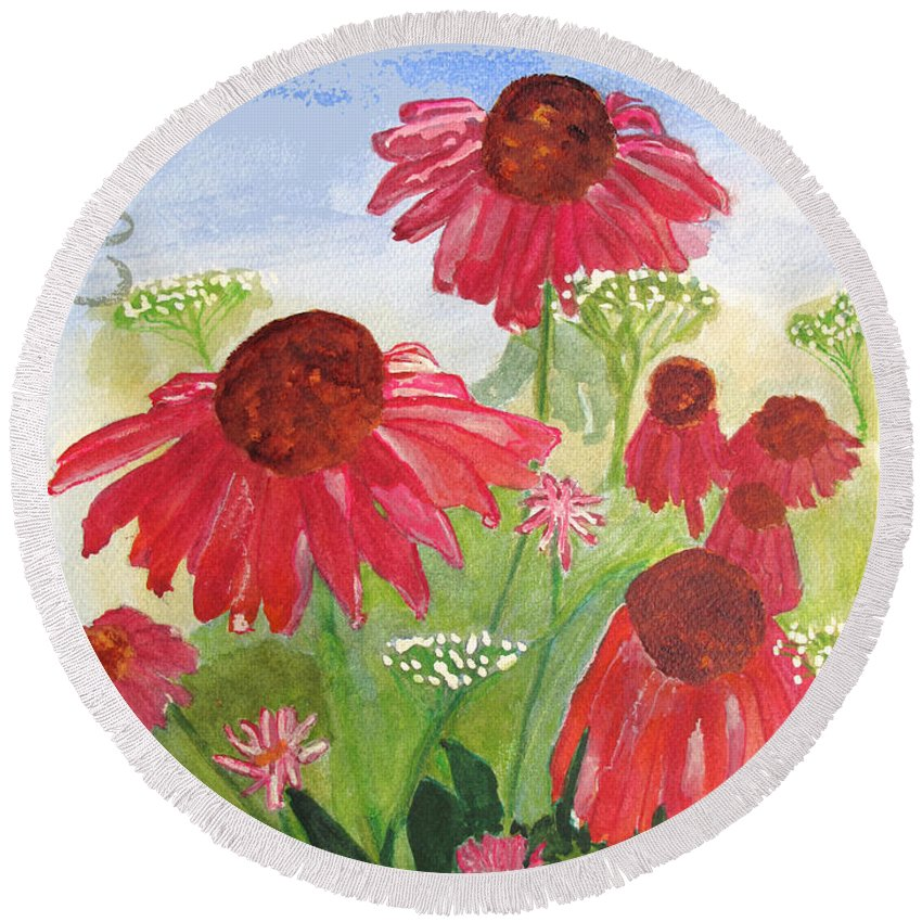 Summer Round Beach Towel featuring the painting Summer Coneflowers by Sandy McIntire