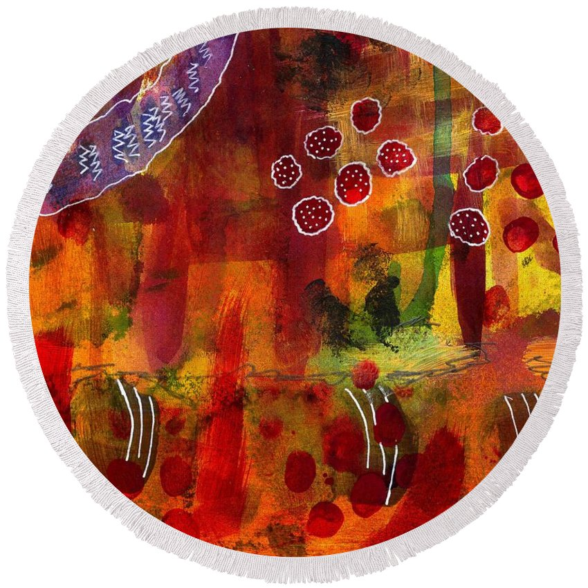 Acrylic Round Beach Towel featuring the painting Summer Holiday Fun by Angela L Walker