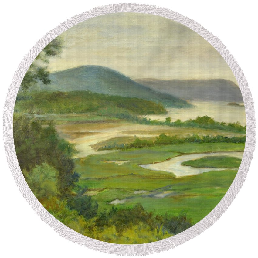 Hudson River Round Beach Towel featuring the painting Summer Morning Hudson Highlands by Phyllis Tarlow