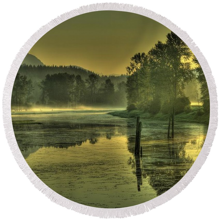 Nicomen Slough Round Beach Towel featuring the photograph Summer Morning by Rod Wiens