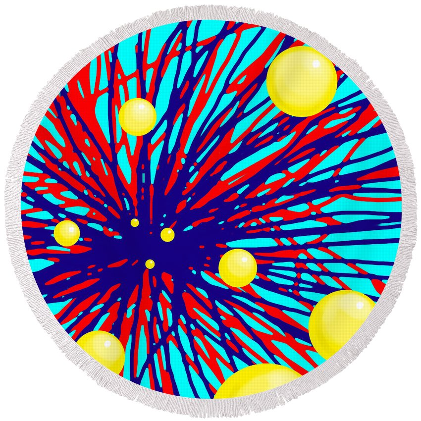 Ball Round Beach Towel featuring the digital art Summer Splat With Yellow Balls by Christopher Shellhammer