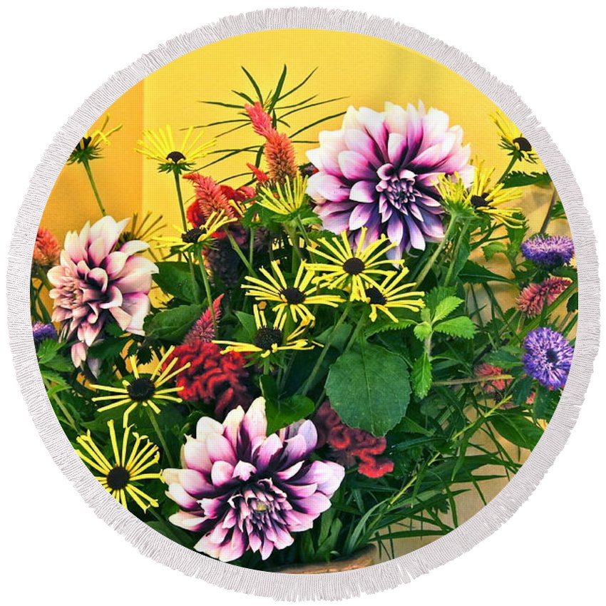Bouquet Round Beach Towel featuring the photograph Summer To Autumn Bouquet by Byron Varvarigos