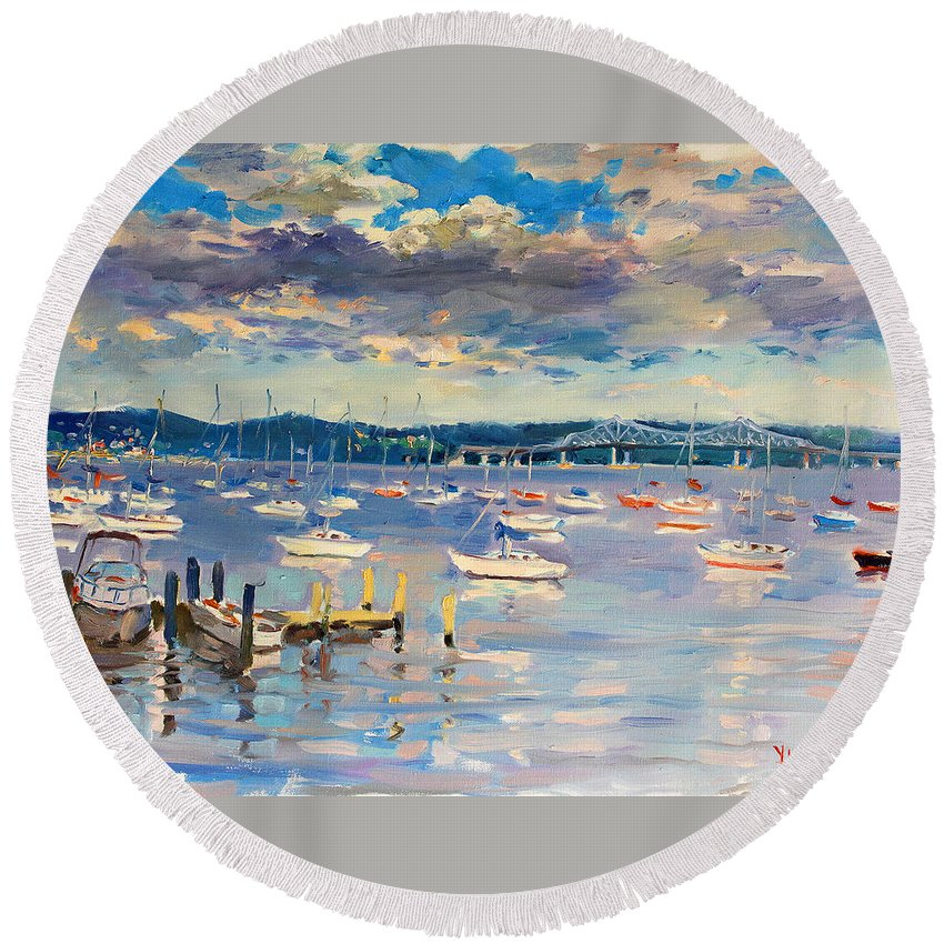 Hudson River Round Beach Towel featuring the painting Sun And Clouds In Hudson by Ylli Haruni