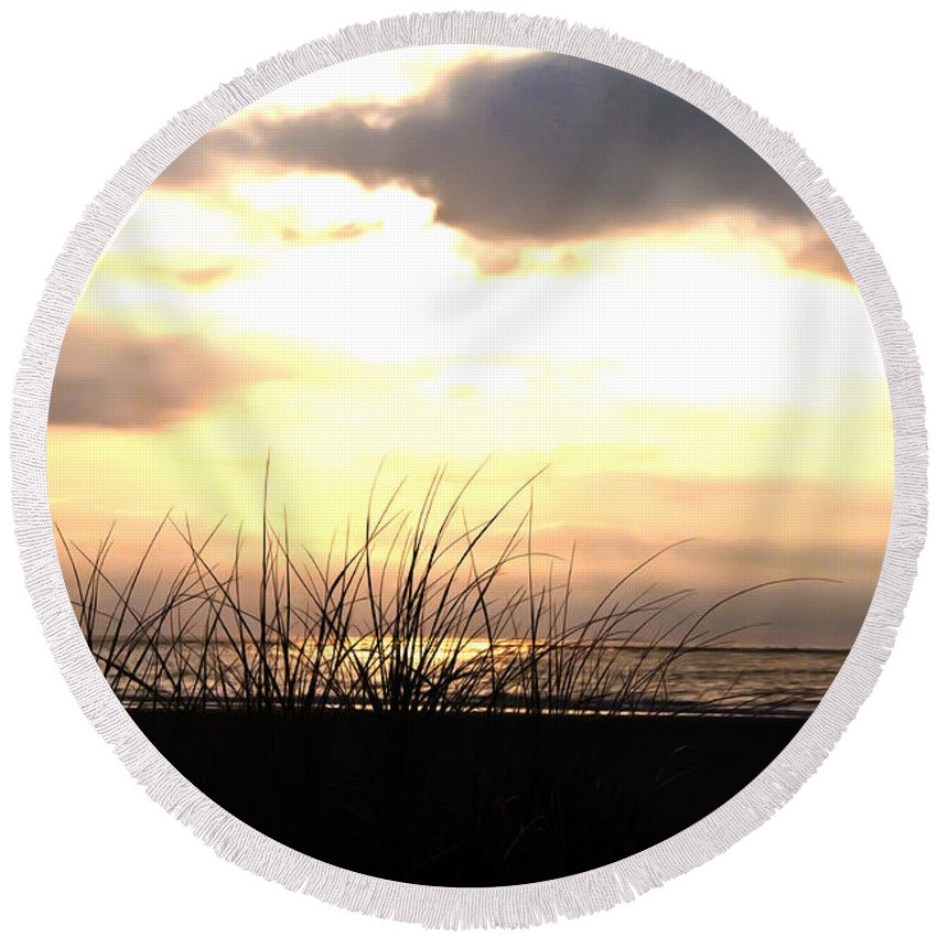 Sun Behind The Clouds On The Beach Round Beach Towel featuring the photograph Sun Behind The Clouds On The Beach by Bill Cannon