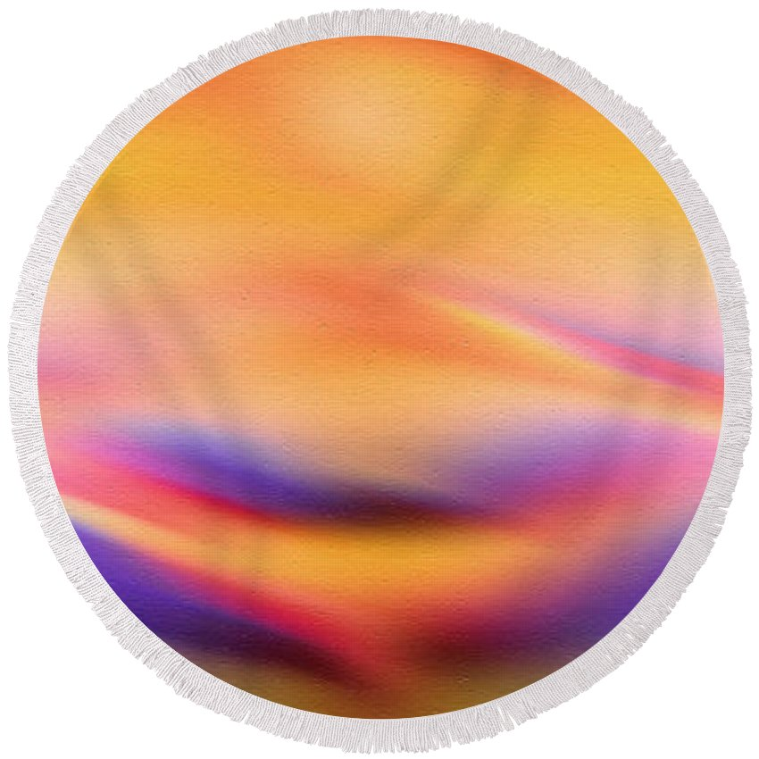 Abstract Round Beach Towel featuring the painting Sun Kissed by Georgiana Romanovna