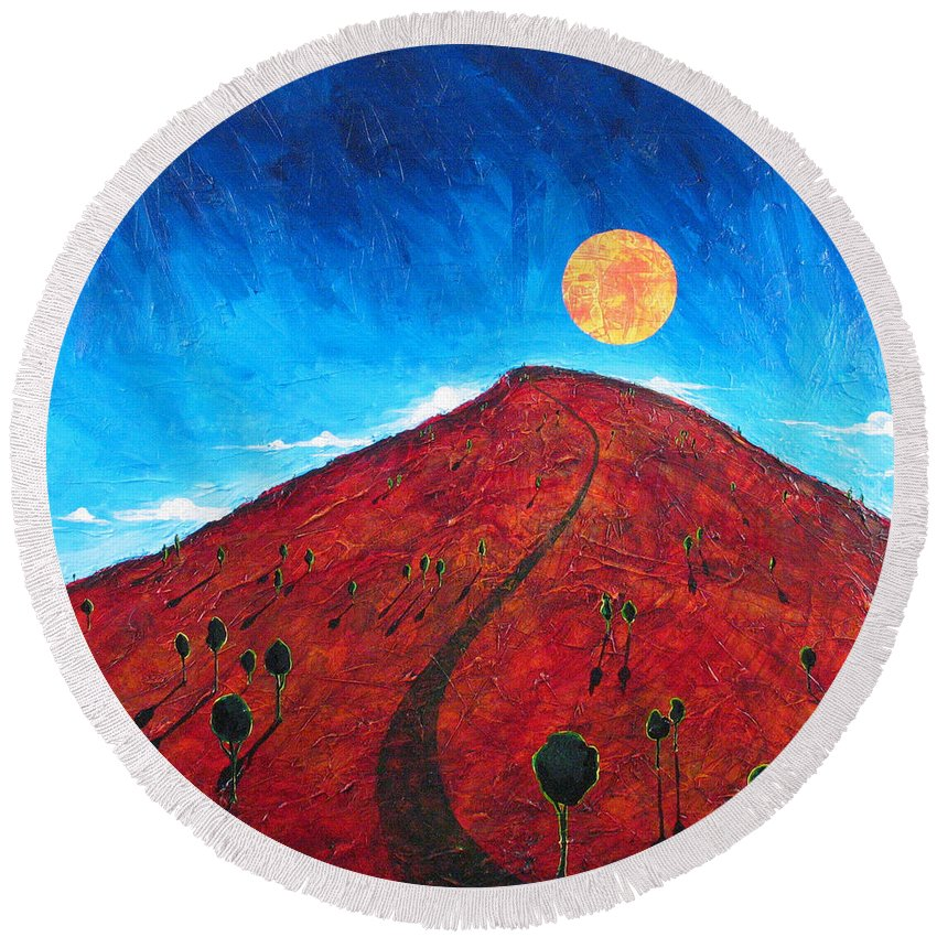 Landscape Round Beach Towel featuring the painting Sun Over Red Hill by Rollin Kocsis