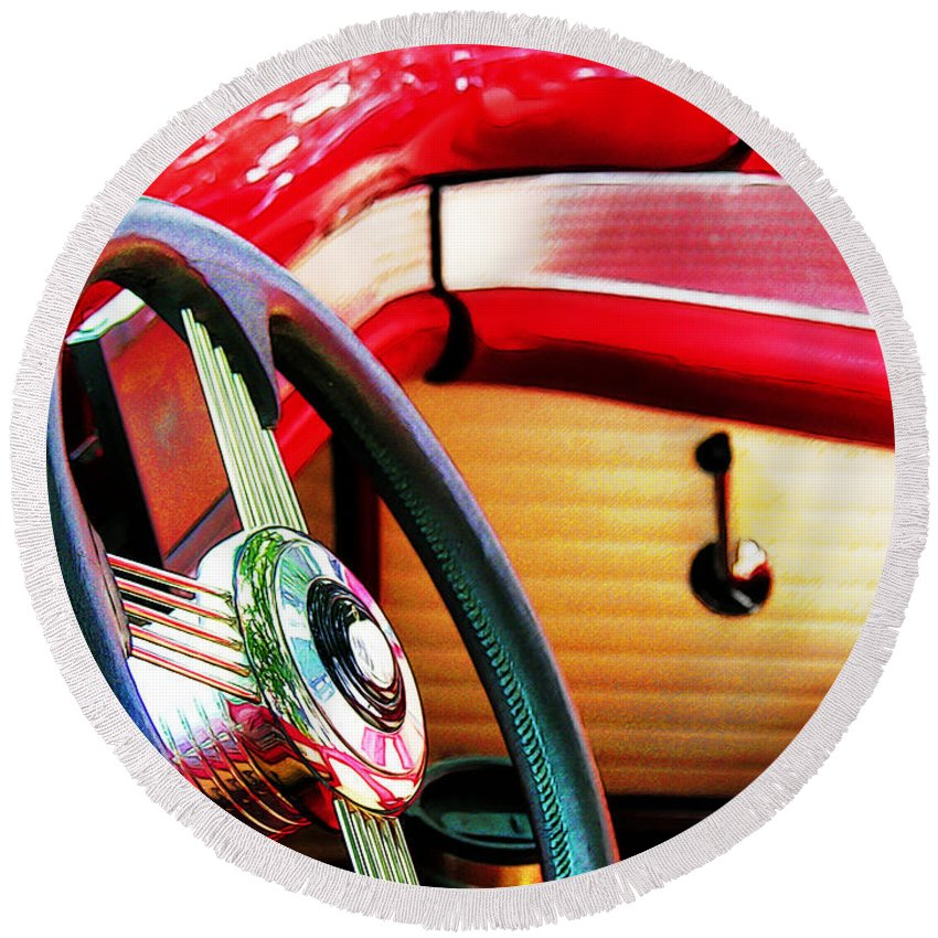 Steering Wheel Round Beach Towel featuring the photograph Sunday Driver by Adam Vance