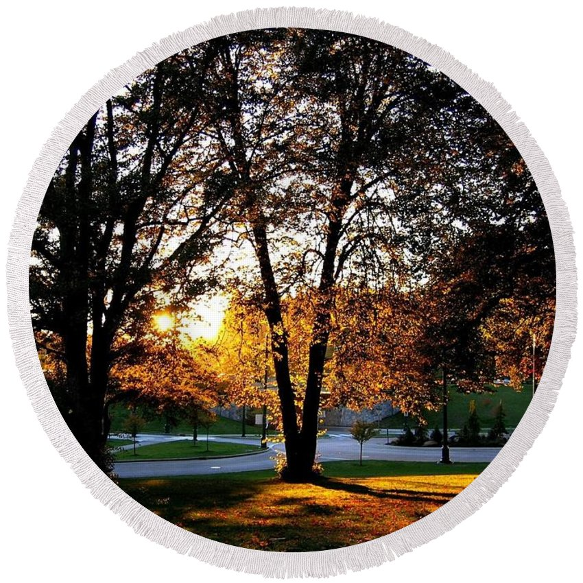 Stanley Park Round Beach Towel featuring the photograph Sundown In Stanley Park by Will Borden