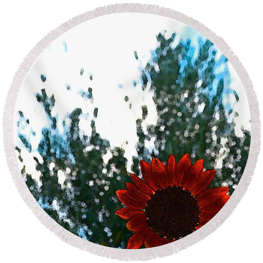 Floral Round Beach Towel featuring the photograph Sunflower 10 by Pamela Cooper