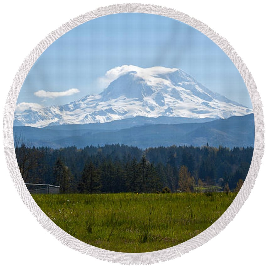 Mt. Rainier Round Beach Towel featuring the photograph Sunny Rainier by Tikvah's Hope