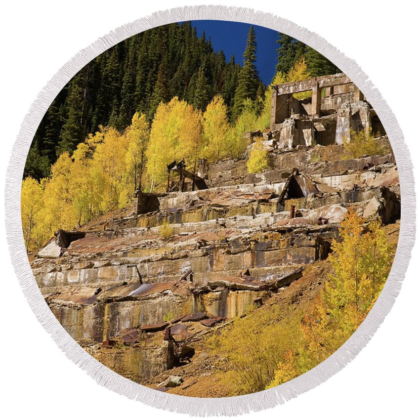 Colorado Round Beach Towel featuring the photograph Sunnyside Mill by Steve Stuller
