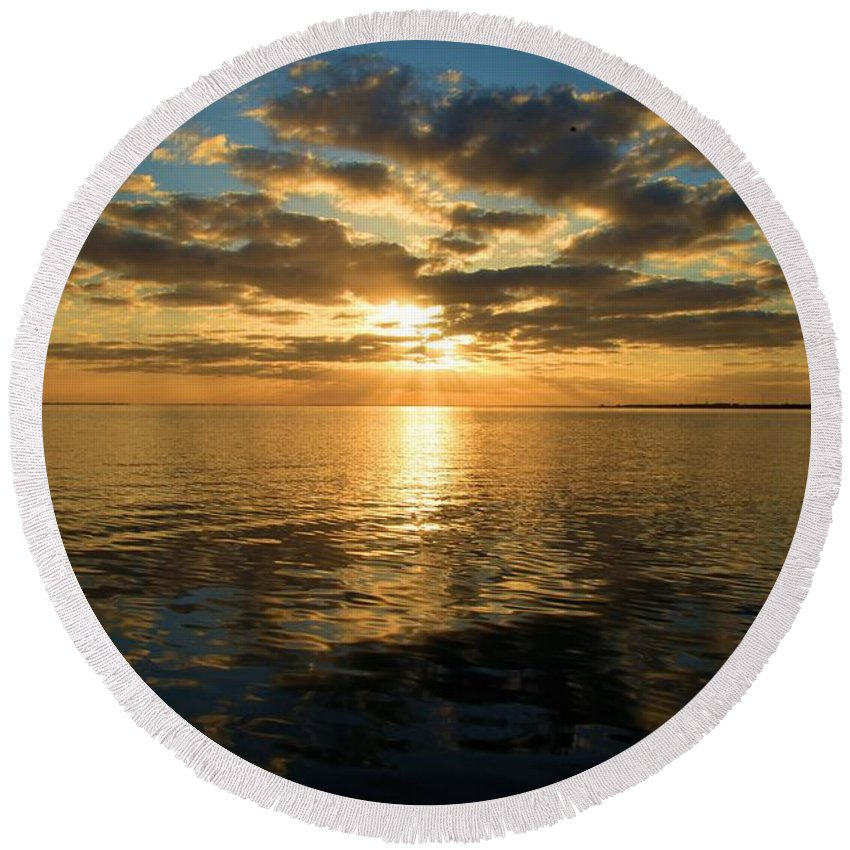 North Carolina Outer Banks Round Beach Towel featuring the photograph Sunrise At The Banks by Adam Jewell