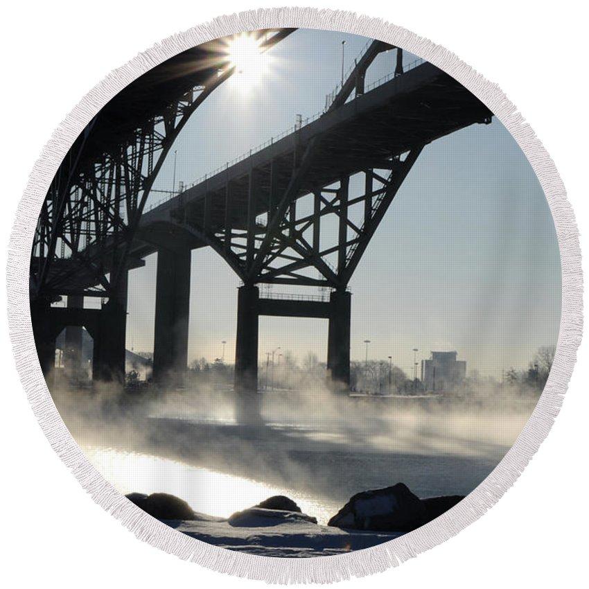 Fog Round Beach Towel featuring the photograph Sunrise Blue Water Bridges Fog by Ronald Grogan