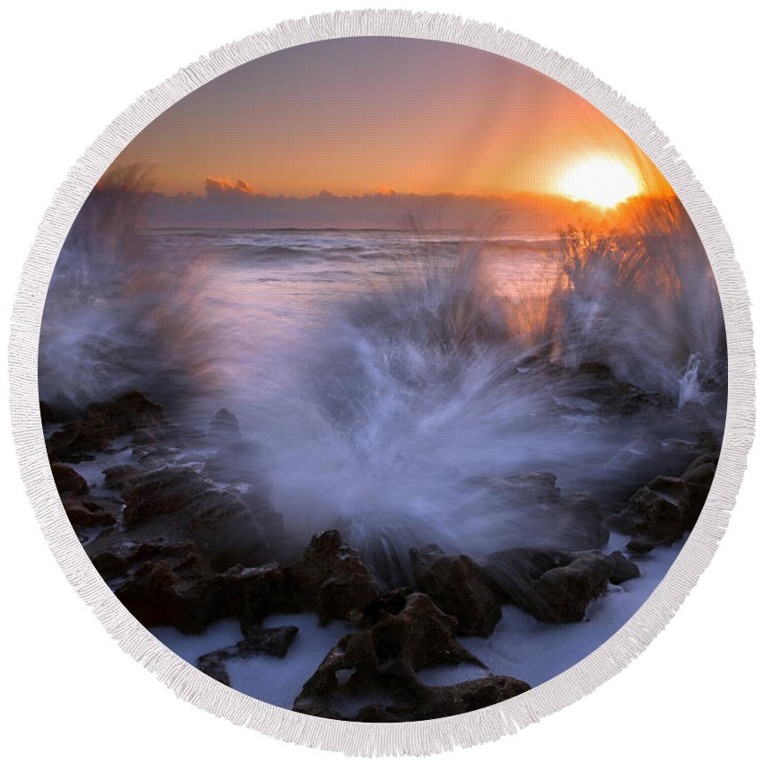 Coral Cove Round Beach Towel featuring the photograph Sunrise Explosion by Mike Dawson