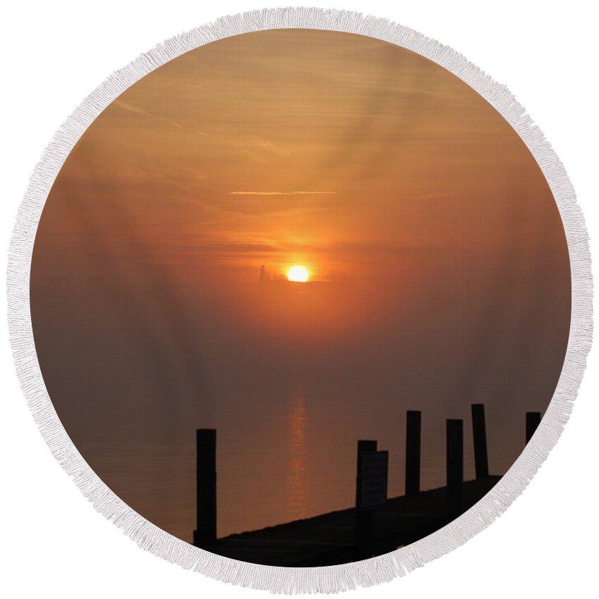 Sunrise Round Beach Towel featuring the photograph Sunrise On The River by Randy J Heath